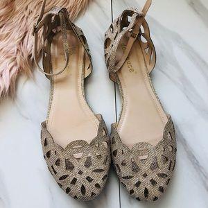 Dollhouse gold laser cut flats sandals size 9